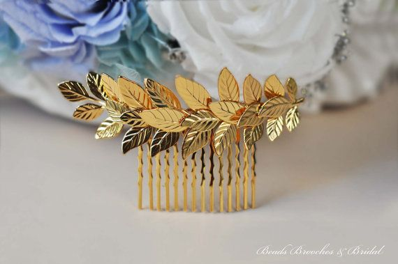Large Gold Leaf Hair Comb,Gold Plated Hair Comb,Leaf Hair Comb,Wedding Hair Comb,Bridal Hair Comb,Grecian Hair,Greek Hair--Ready-to-ship