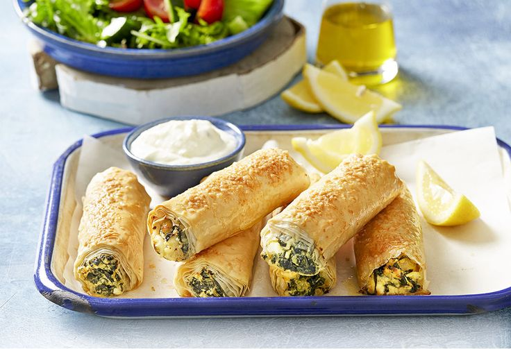 These Greek-style vegetarian sausage rolls are perfect served as an entree or as a light lunch. They can be frozen and put in the oven whenever needed.