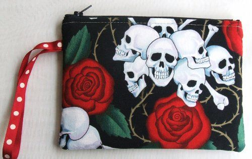 Cross Bones & Red Roses Cosmetic Bag Pouch