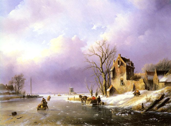 Winter Landscape with Figures on a Frozen River, , 1858 Spohler, Jan Jacob Coenraad Painting Reproductions