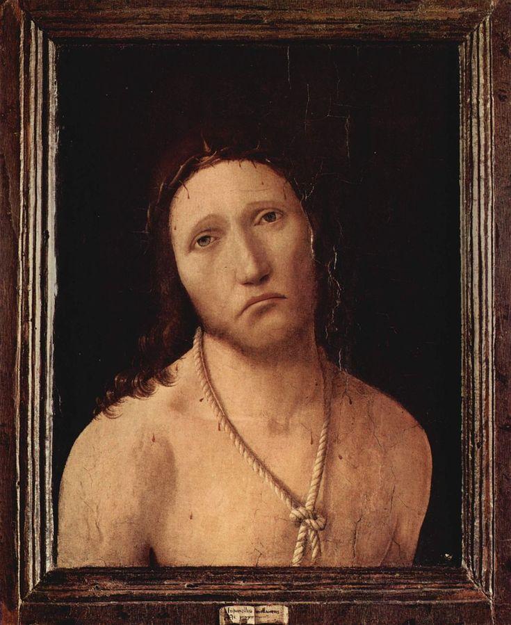 Antonello da Messina (1430–1479), Ecce Homo, 1474, oil on panel, 39.7 × 32.7 cm (15.6 × 12.9 in), Galleria Spinola, Genua