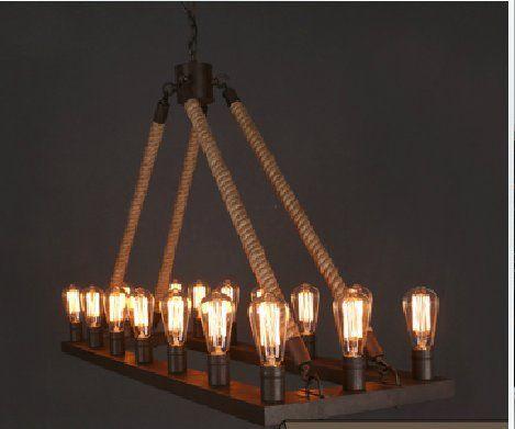 Large Rope Rectangle Industrial Farmhouse Iron Chandlier Light Edison Restaurant Bar