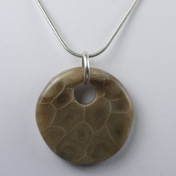 Round Petoskey Stone  Petoskey Stone Jewelry  by JRobergeJewelry, $38.00