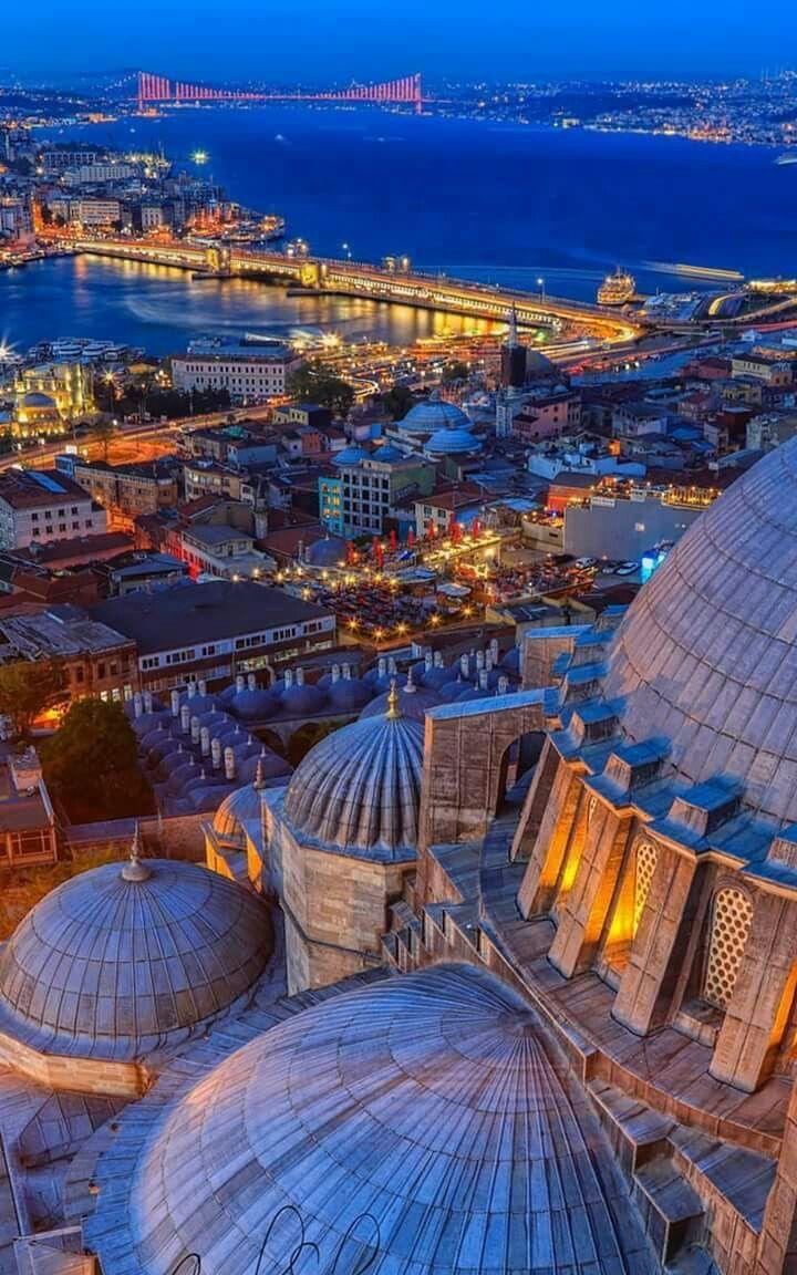 Detalles de las cúpulas de la Mezquita Azul, del Bósforo y de Estambul. Turquía.