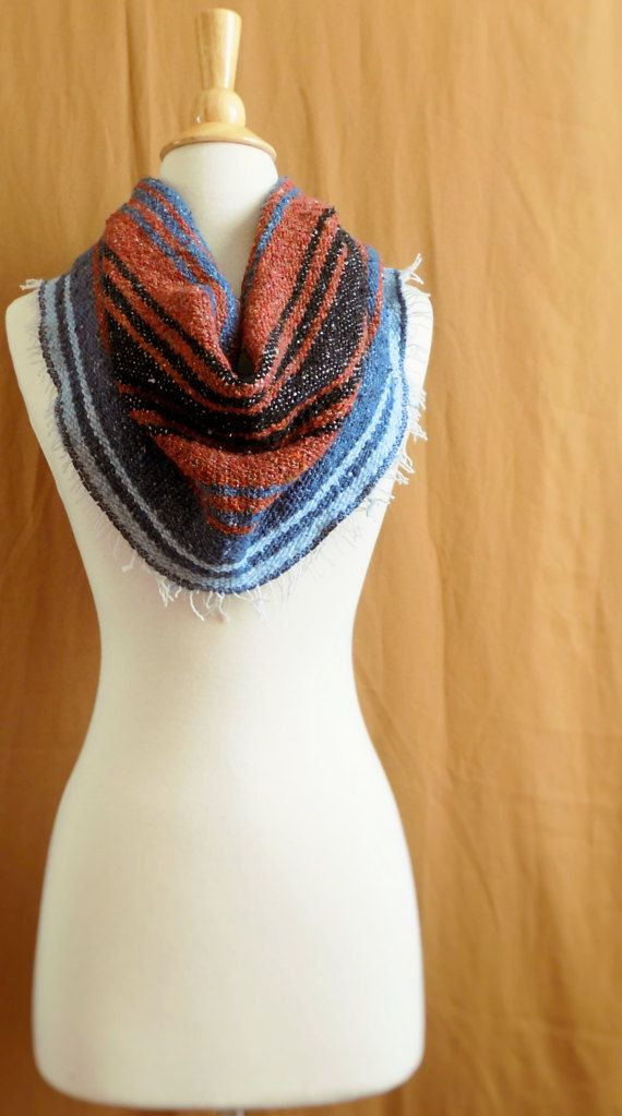 Rust and Blue Woven Blanket Cowl Scarf Mexican by PsandQsHandmade