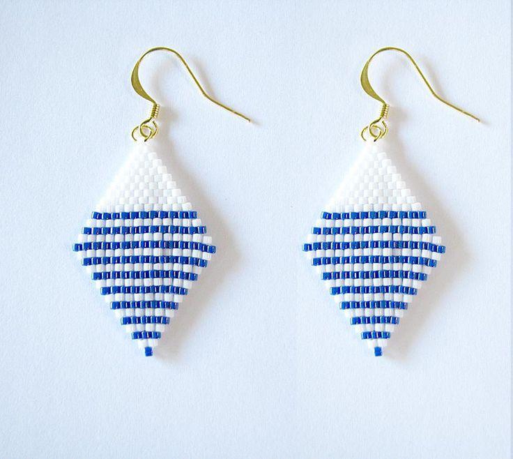Boucles d'oreilles miyuki à rayures bleues et blanches