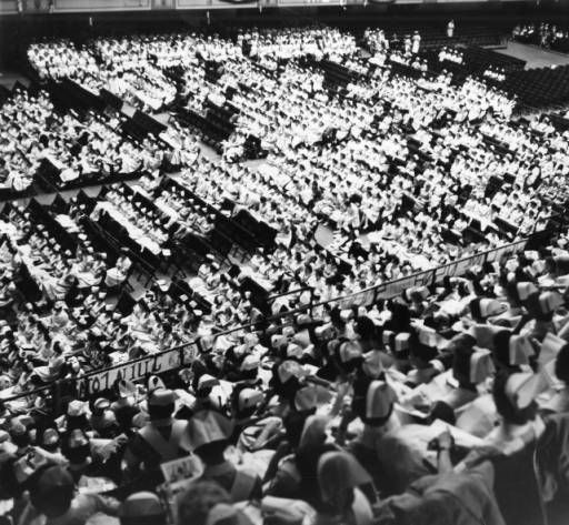 """Student nurses close national convention"" :: George D. McDowell Philadelphia Evening Bulletin Photographs Nurses wear uniforms of the hospitals and schools they represent at the final session of the National Student Nurses' Association in Convention Hall."