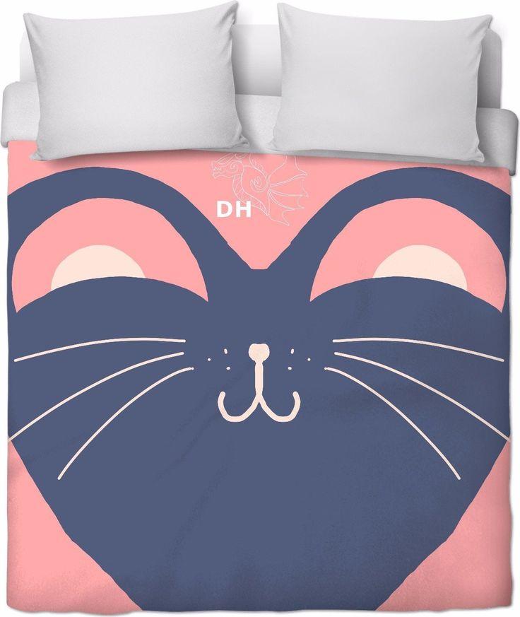 Kitty Pink Duvet Cover
