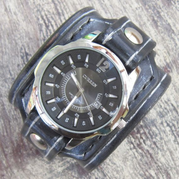 Black Leather Watch Cuff Men's watch Leather by loversbracelets