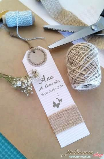 It's always fun to give your guests something sweet to remember the event, look at this hand made bookmark.  It is such a sweet idea from the blog holamama: