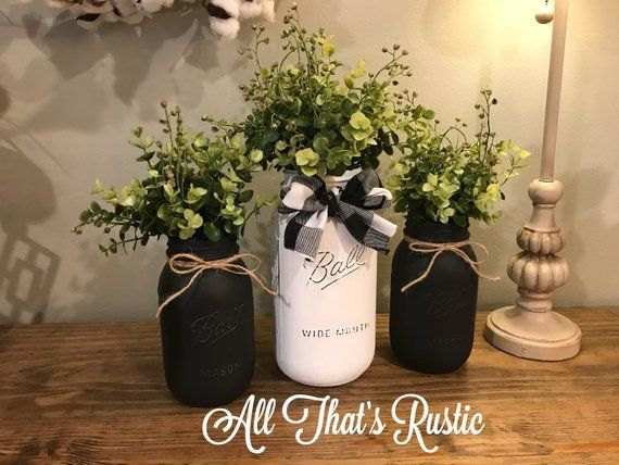 Black And White Farmhouse Decor Farmhouse Decor Buffalo Check Black And Whitemason Jar Decor Einweckglaser Dekorieren Schwarz Weiss Dekoration Glaser Dekorieren