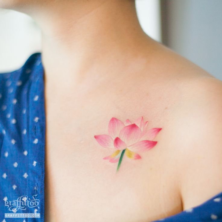 연꽃 타투 by 타투이스트 리버. 연꽃. 수채화. 타투. 분당타투. lotus tattoo by tattooist River