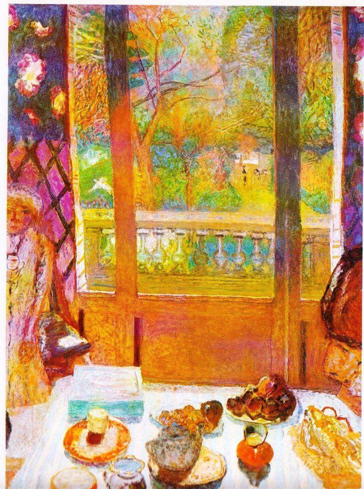 """""""Dopo essersi vestito passò in biblioteca e si sedette davanti a una leggera colazione alla francese, apparecchiata su un tavolino rotondo vicino alla finestra aperta. Era una giornata incantevole e l'aria calda sembrava impregnata di spezie. Un'ape entrò a volo, ronzando intorno al vaso turchino che gli stava davanti, pieno di rose di un giallo sulfureo. Si sentiva perfettamente felice."""" (Oscar Wilde, Il ritratto di Dorian Gray, 1890)  [Opera: Pierre Bonnard, The Breakfast Room, 1930]"""