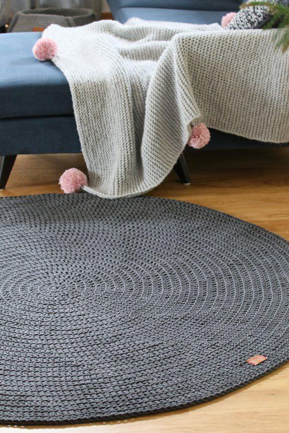 Modern Dark Gray Round Rug Round Area Rug Nursery Rug Skandinavische Teppich Rund Alfombra Trapillo Modern Enfant L In 2020 Grey Round Rug Round Rug Nursery Floor Rugs
