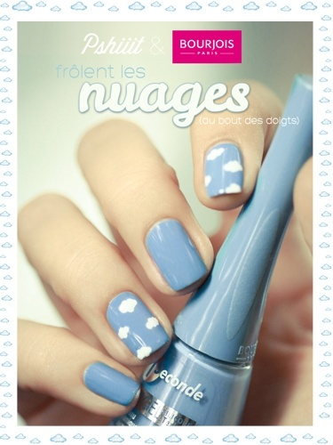 sky blue nail polish with cloud nail art. this is really cute. im totally trying it:)
