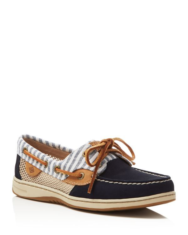 With breezy mesh panels and rust-proof eyelets, Sperry's boat shoes prove their seaworthy style in striped trim for on-trend appeal. | Suede, leather and synthetic upper, synthetic lining, rubber sole