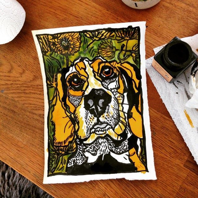 Beagle drawing in ink and ecoline