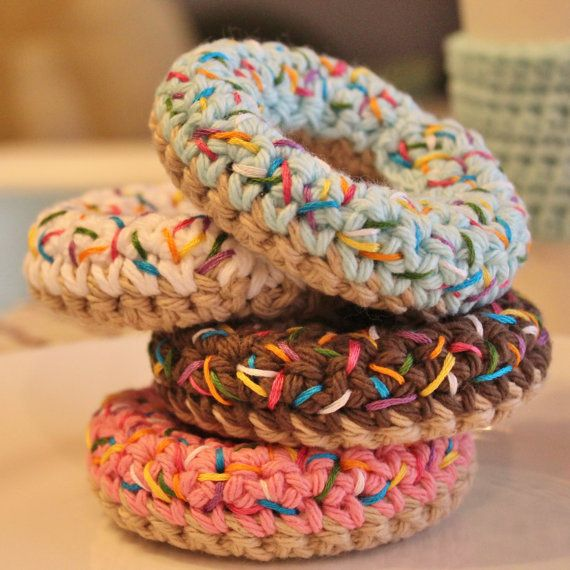 Funkin' GoNuts ONE Amigurumi Crochet Sprinkle Donut Toy, Wood Core, Perfect for Baby as Teething Ring, or Just for Fun!