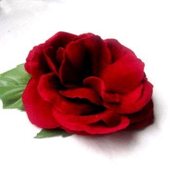 Velvet Red Hair Flower  Deep Garnet Red Rose by BloomDesignStudio, $8.00