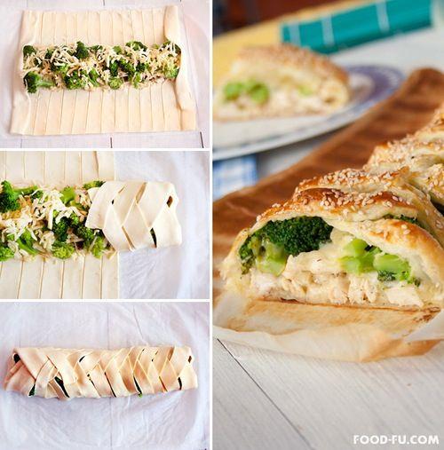Chicken , brocolli , mozzerella.