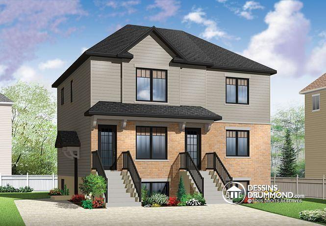 59 best images about mod les de maison jumel e plans de duplex plans de triplex de dessins. Black Bedroom Furniture Sets. Home Design Ideas