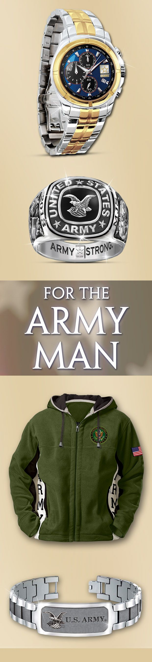 Honor your brave soldier with an Army gift of jewelry or apparel. Army Strong never looked so handsome.