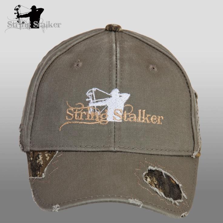 Olive String Stalker Frayed Camo Bow Hunting Hat