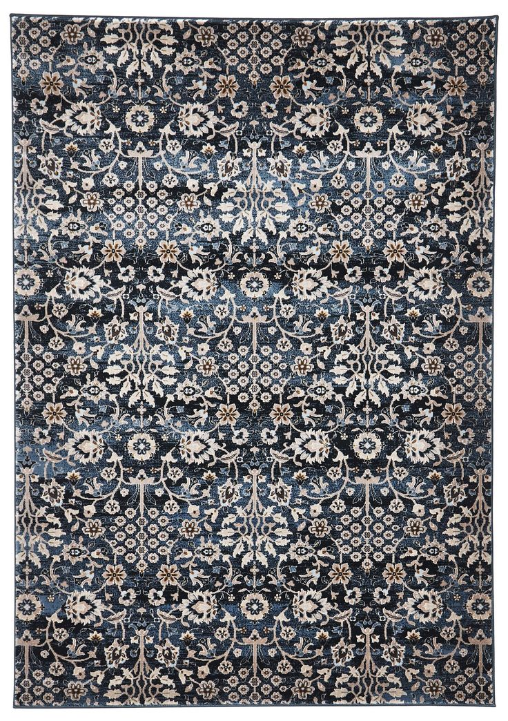 Izmir features a light, intricate and interlaced floral motif pattern on dark blue. This stunning floor rug was made in Turkey using a 1 million point machine that is able to replicate the effects and details found in vintage rugs. Izmir would work beautifully in your home with paired back neutral furnishings. This rug has an 11mm pile.
