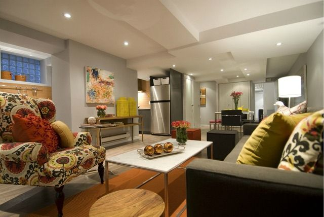While we normally say that light and fresh is best in basements, if you love decorating with color don't be scared away from it. This colorful and boldly colored basement is a testament to what can be done with color. Basement Apartments from HGTV's Income Property: Don't Be Scared of Color