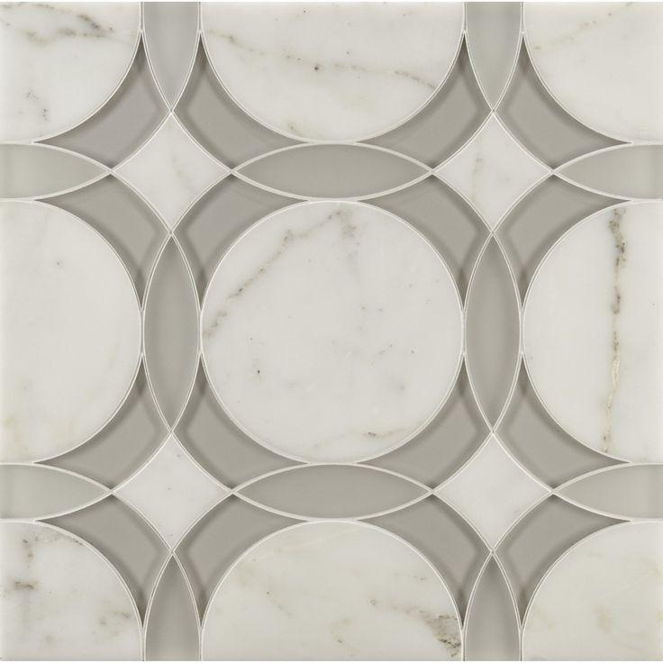 Liberty Mosaics | ANN SACKS Tile & Stone | rockefeller circle medium mosaic in moonstone white frost glass, moonstone white clear glass and calacatta oro stone
