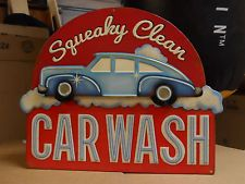 3D Vintage 50s Neon Style Metal SQUEAKY CLEAN CARWASH 2 Layer Display Store Sign
