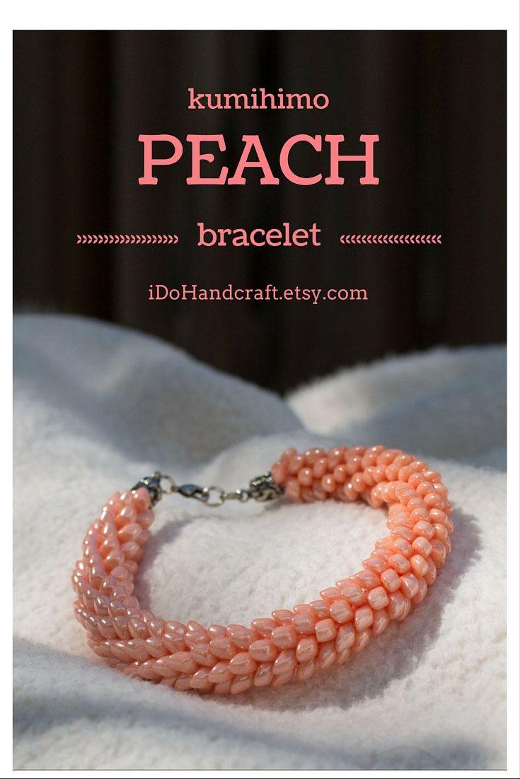 Japanese kumihimo bracelet found on: ◆ idohandcraft.etsy.com ◆ beaded bracelet seed beaded bracelet peach bracelet serpentine jewelry scales bracelet braid dragon tail magatama.    45