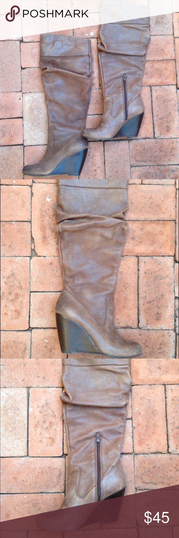 Jessica Simpson Below The knee Wedge Boots Leather boots in amazing condition. The wedge makes them comfortable for all day wear. The fall just below the knee. Jessica Simpson Shoes Winter & Rain Boots