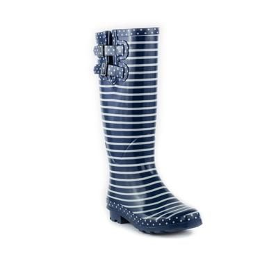 """my autumn """"must have""""  Womens Blue and White Striped Welly   Shoe Zone"""
