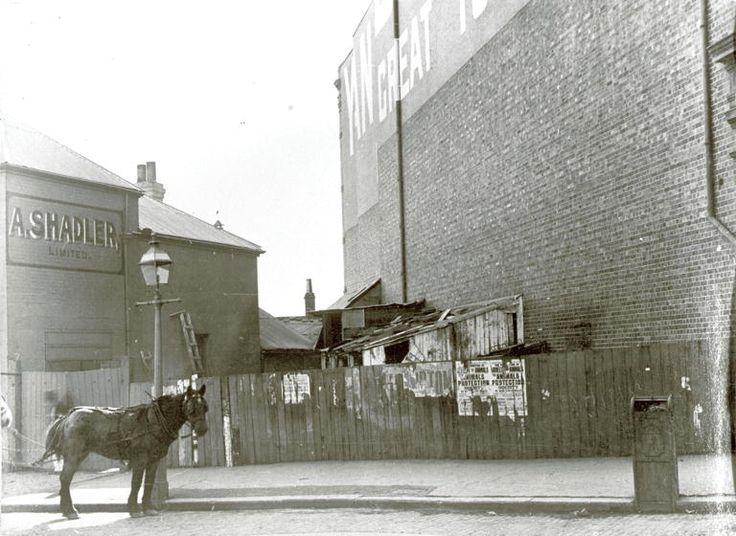 Argyle St	 Large brick building with a yard filled with assorted outhouses separating it from 'A.Shadler Limited'. On the wooden fence are several posters advertising The Animal Protection Society of New South Wales. Horses are tethered to a gaslamp and an ornate iron refuse bin is also in the foreground. Argyle St was named by Governor Macquarie in 1810 after his native county 20 May 1901 NSCA CRS 51, Demolition books, 1900-1949 City of Sydney Archives
