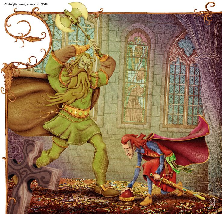 The ghastly Green Knight from Arthurian legend in Storytime Issue 6. Illustration by Oscar Senonez (http://oscarsenonez.blogspot.co.uk) ~ STORYTIMEMAGAZINE.COM