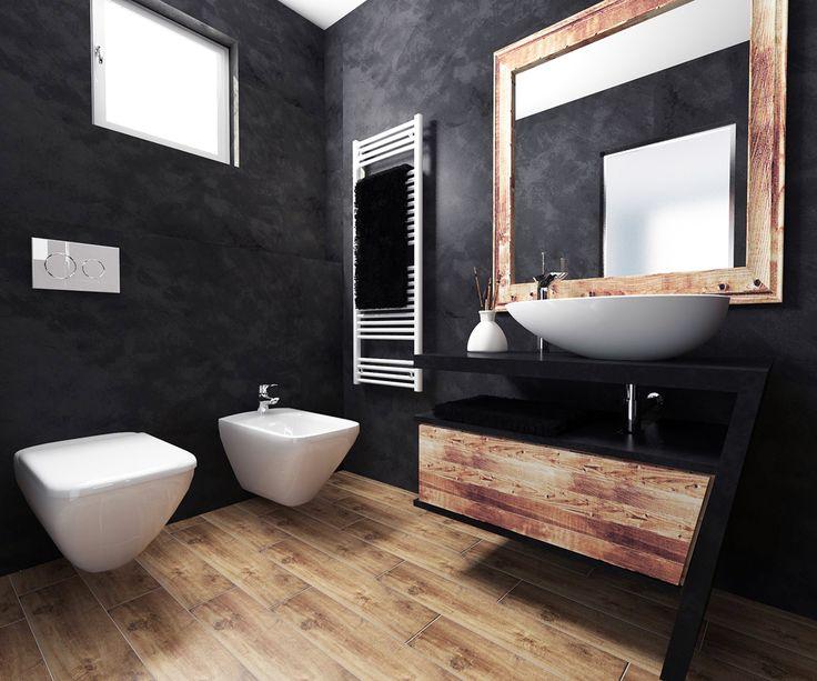 black & wood bathroom on Behance