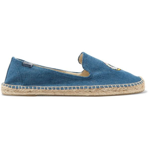 Soludos Embroidered denim espadrilles (€55) ❤ liked on Polyvore featuring shoes, sandals, mid denim, slip-on shoes, blue denim sandals, multi color sandals, colorful sandals and blue espadrilles