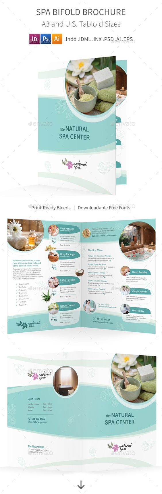 Spa Brochure Template | Quickbooks Invoice Templates Spa Brochure Templates Free Template