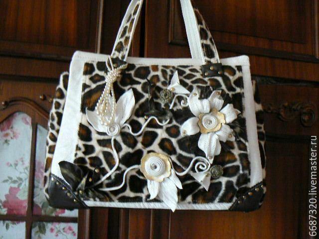 Купить сумка кожаная комбинированная Белые цветы. - белый, звериная расцветка, сумка ручной работы