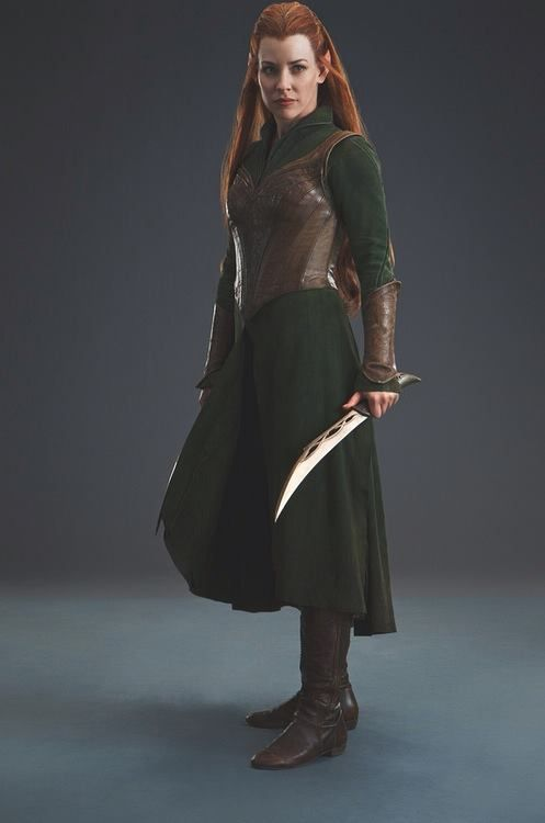 "Day 8: Favorite Costume - Well, seeing as tomorrow is ""Prettiest Dress,"" I'm going to say this costume of Tauriel's. But that makes sense, right? Since I *am* making it.. ;D I just love the forest green color, and the split skirt, and the lovely leather bodice and guantlets... #30DayMiddleEarthChallenge"