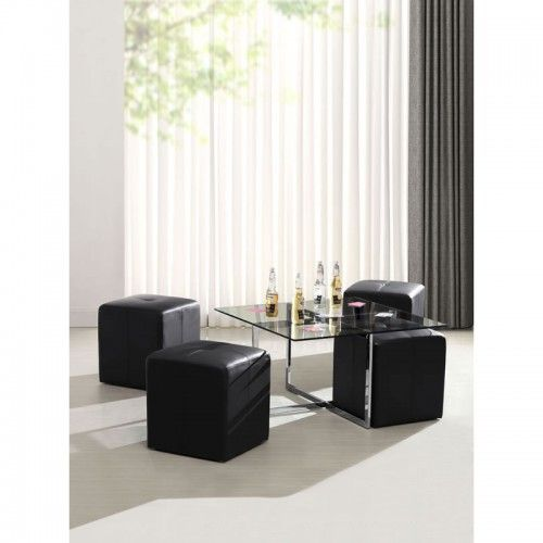 Botero Coffee Table Set By Zuo Modern Botero Coffee Table Set Has A Tempered Glass Top Chromed Steels Legs With Four Padded Leatherette Stools