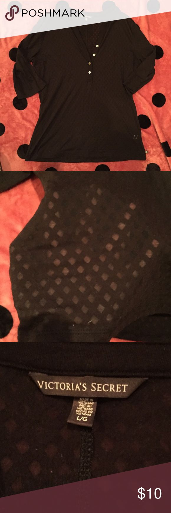Victoria's Secret Black Burnout 3/4 Henley Shirt In excellent used condition from Victoria's Secret. This is a black 3/4 sleeve Henley t-shirt with a diamond burnout pattern. No fabric wear and no holes or stains. Material is a very soft cotton.   Reasonable offers welcome and I do not trade. 15% discount on bundles of 2 items. Victoria's Secret Tops Tees - Long Sleeve