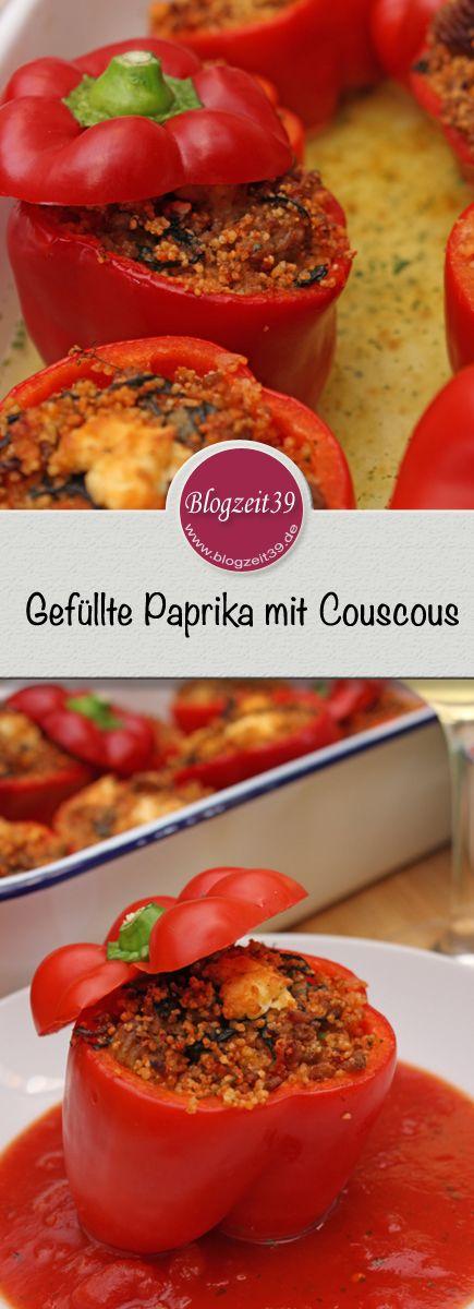 Gefüllte Paprika mit Couscous. Schnell und einfach ist dieses Gericht auf dem T …  – Vegetarische Gerichte