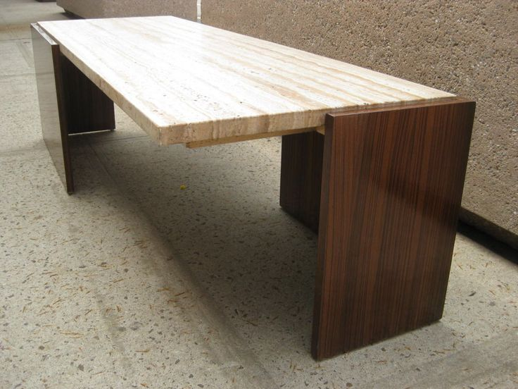Zebra Wood Cantilever Cocktail Table