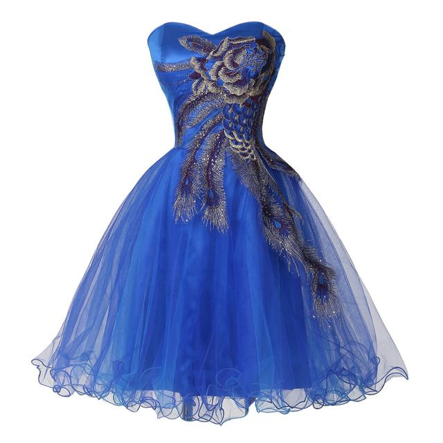 Royal Blue 2017 Cocktail Party Dress Elegant Sweetheart Knee Length Corset Cheap Wedding Party Gowns Toast Ball Gowns
