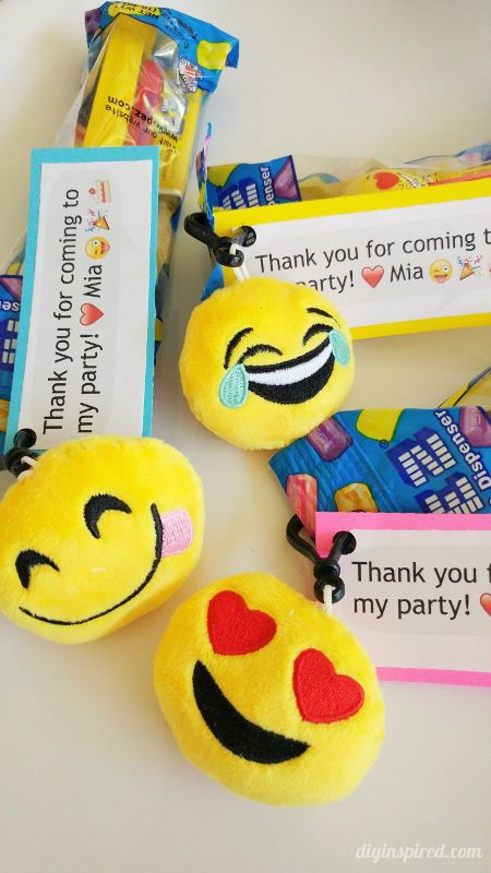 Emoji Party Favors with Pez and Key Chain - DIY Inspired