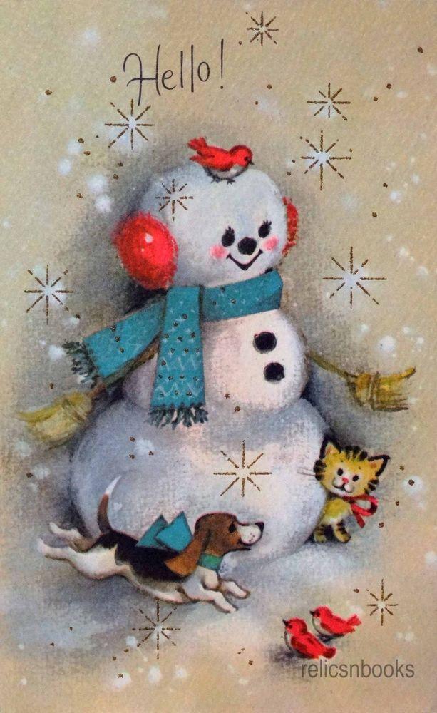 831 60s Gibson Snowman-Birds-Dog-Cat-Vintage Christmas Card-Greeting ...