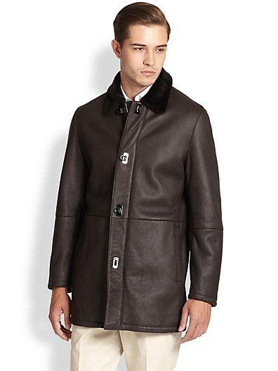 SALVATORE FERRAGAMO Leather & Lamb Shearling Coat. #salvatoreferragamo #cloth #coat