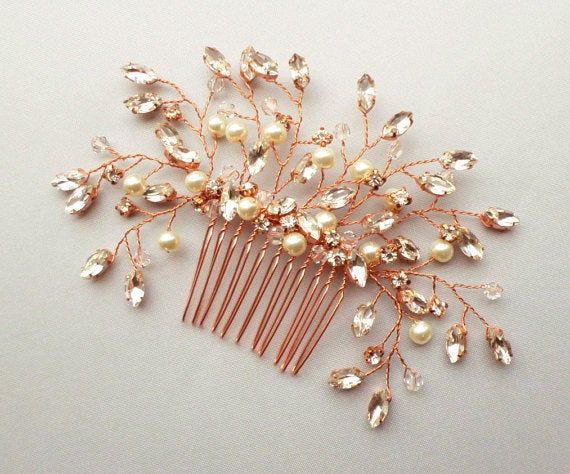 Rhinestone Bridal Hair Comb Wedding Pearl Hair piece Rose | Etsy